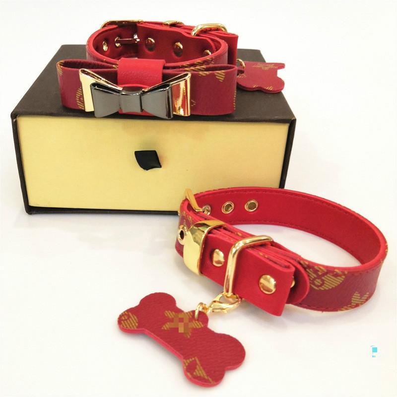 Kutusu ile Kırmızı Bow Köpek yaka Deri Pet Traction Halat Takım Elbise Açık Köpek Güvenliği Ürünleri Retro Kayışlar Sıcak Satış