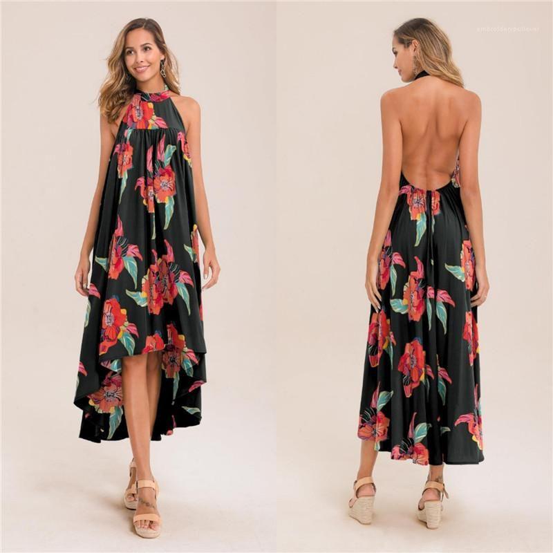 Bayanlar Tasarımcı Düzensiz Elbiseler Tatil Backless Kolsuz Elbise Kadın Yaz Çiçek Baskılı Elbise