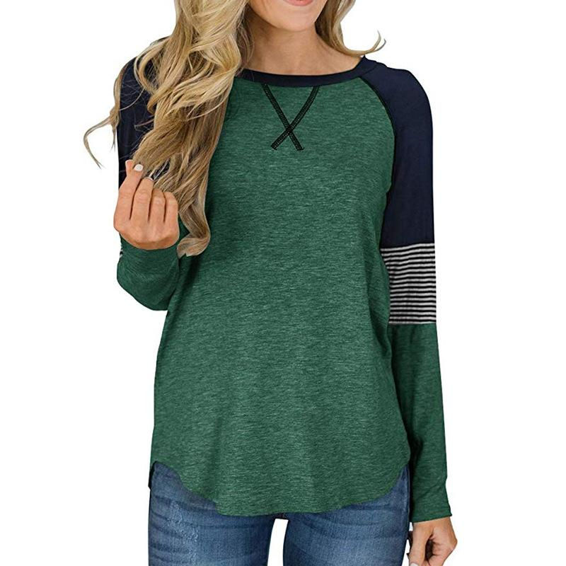 New Outono menina das mulheres cobre camisas Neck luva cheia rodada T Cotton retalhos Vintage Casual camisola Plus Size grandes camisas Top T