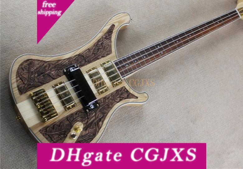 Deluxe Edition шеи через тело Nc Carving Рик 4003 Природа Вуд 4 Strings электрический бас гитара 4 Пикапы Golden Аппаратная Бесплатная доставка