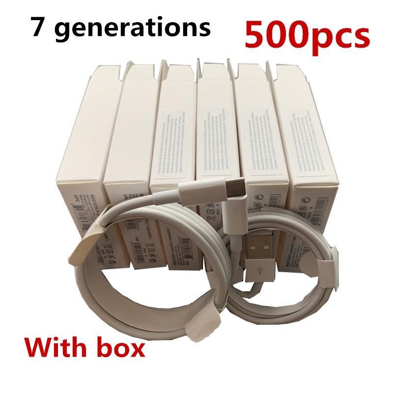 500 PCS 7 GERAÇÕES Originais OEM Qualidade 1M / 3FT 2M / 6ft USB Data Sync carregador para cabo de telefone com caixa de pacote de varejo
