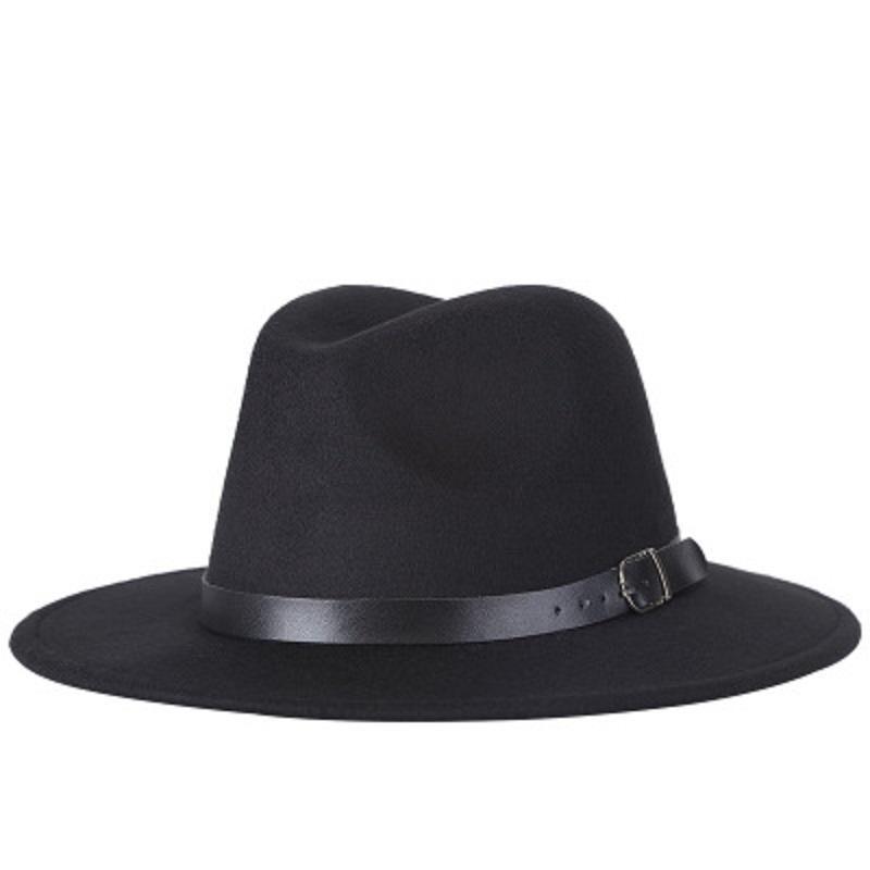 Fedoras Geniş Brim Caz Şapkalar Kadınlar Erkekler Açık Caps Moda Yaz İlkbahar Siyah İmitasyon Yün Blend Cap Casual Erkek Güneş Şapka Toptan