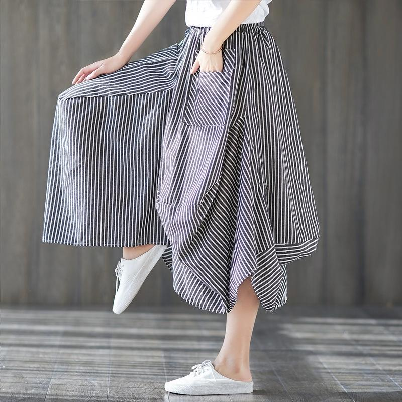 listrado irregular ZEaZe u3gNr tamanho grande das mulheres plissado 2019 primavera e algodão e linho novo verão de algodão de linho sk saia p listrado artística