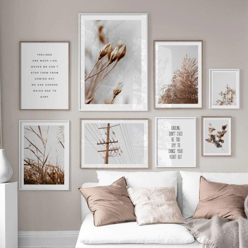 Blume, Blatt, Pflanze Natur Wand-Kunst-Leinwand-Malerei Weizen Reed Gras Nordic Poster und Drucke Wandbilder für Wohnzimmer-Dekor