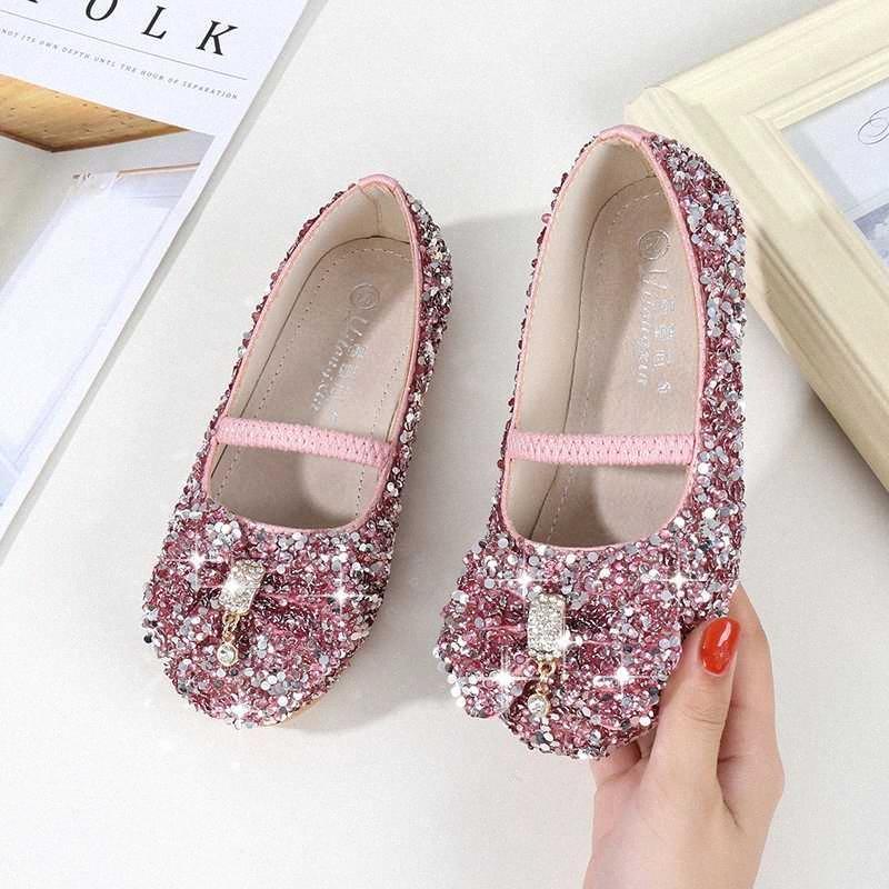 crianças meninas sapatos de couro sapatos de cristal de moda para a primavera partido / outono menina proa princesa crianças ocasional único vVaG #