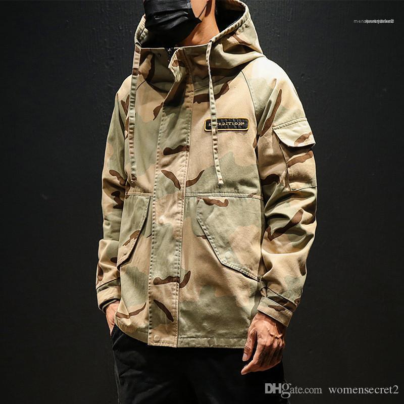 Jacke Camouflage Stil Mann Mantel-beiläufige Reißverschluss Frühling und Herbst plus Jacke Designer Hommes Lose