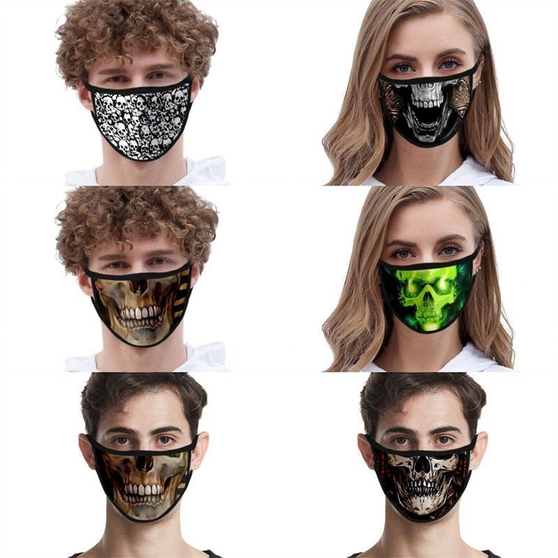 Lavable Masques respiratoires Mascarilla Anti-poussière Reuseable Ice respirateurs soie Texture personnalité 3D Crâne de protection Bonne 2 2fdg E2