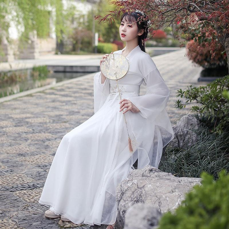 Uau1a D6E8j White White Women's waist-lined slender Chinese clothing slim Chinese style fashion wide sleeve fairy Hanfu skirt skirt antique e