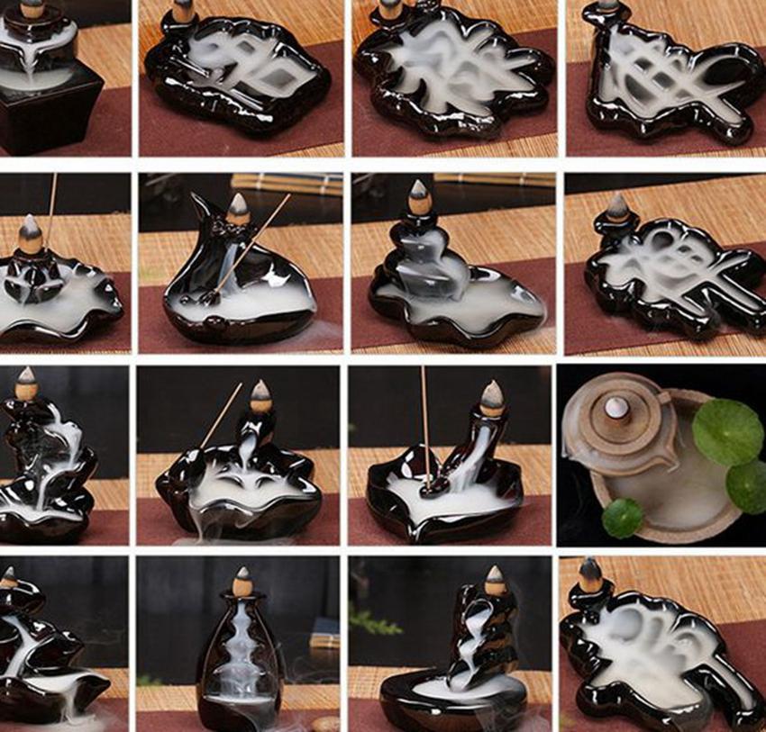 Cerâmica Titular Glaze Cachoeira Backflow queimador de incenso Censer Cones decoração Home 24 Estilo incenso Cones Burner vara KKA8036