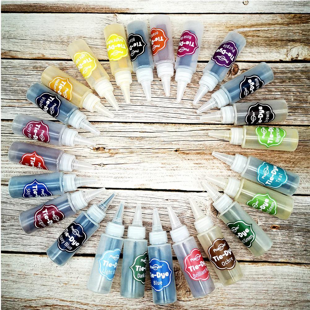 Холодная вода ручная работа Tie Dye Kit Текстильные краски 24 цветов для Art Vibrant Fabric
