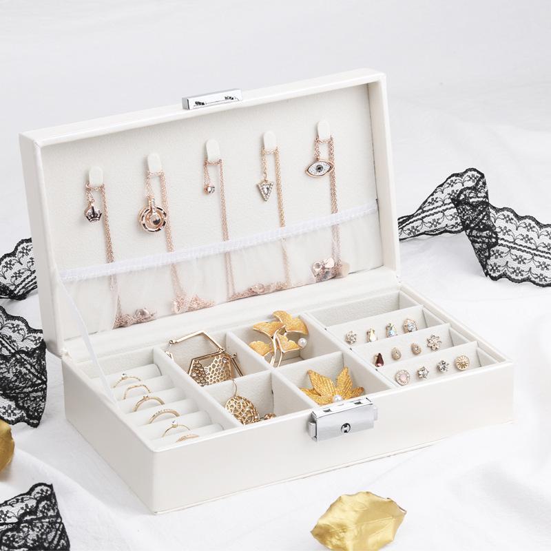 Bijoux Voyage exquis Boîte Femmes en cuir Rectangle Emballage Collier Anneaux Boucles d'oreilles de stockage Organisateur affichage Coffrets cadeaux Case MX200810