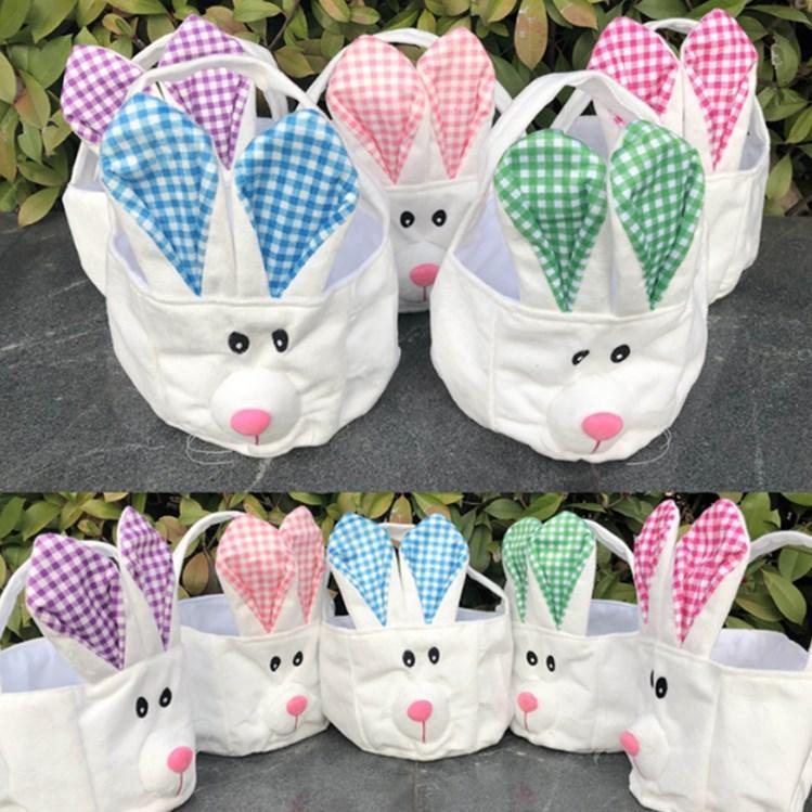 Bañera de Pascua canasta de almacenamiento, cesta de la mano, largas orejas de conejo felpa Pascua decorado pequeña cesta redonda serie de vacaciones T2D5017