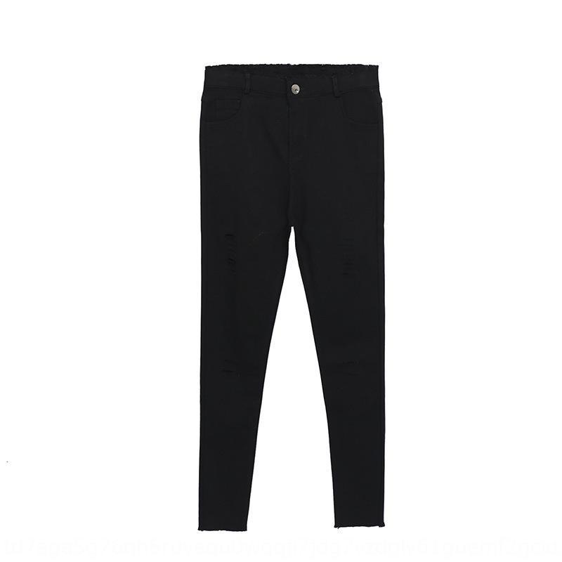 2020 pantalones de otoño de las nuevas mujeres del acuario pantalones negros ropa 100.00kg grasa mm L de las mujeres aficionado reina coreana elástica arrancaron pequeña trous Negro