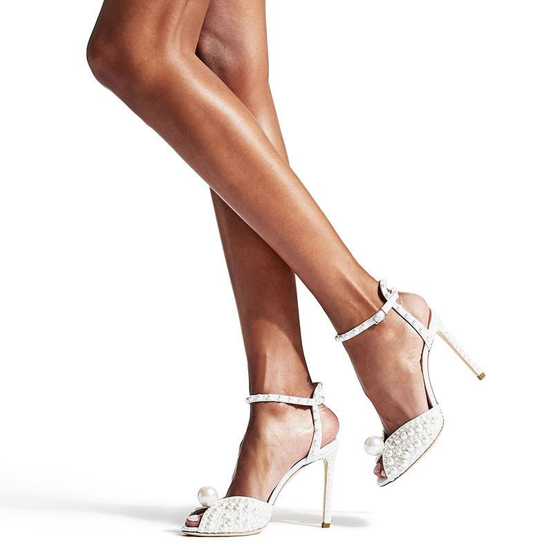 Mulheres Pérola Sandals Gladiator JIM Cho Shoes Sandals Buckle Strap sapatos femininos de couro real Sandals partido Sapatos 2020 Verão Novo