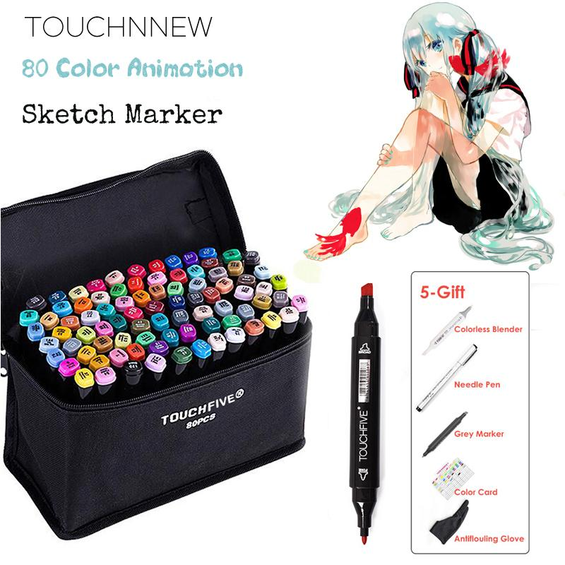 2020 Touchnew Animation Marker Pen Set Drawing Sketch Markers Dulal Tips Alcohol Based Black Body Art Supplies With 5 Gifts Y200709 From Long10 44 31 Dhgate Com