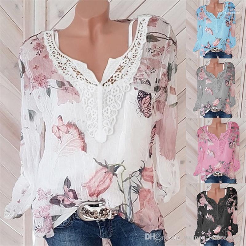 بلايز الصيف طباعة الزهور الشيفون التي شيرت المرأة مصمم الأزياء كم طويل تيز الخريف V الرقبة الشارع الشهير