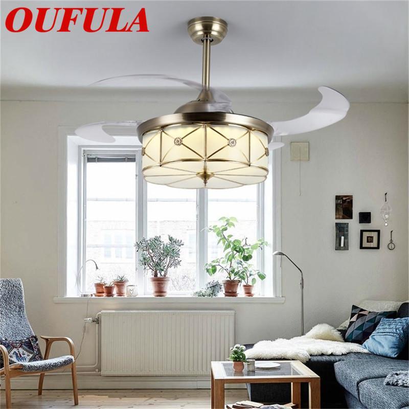 DLMH Messing Deckenventilator Beleuchtung mit unsichtbarem Fan Blade Fernbedienung moderner kreative Dekorative Für Home Office