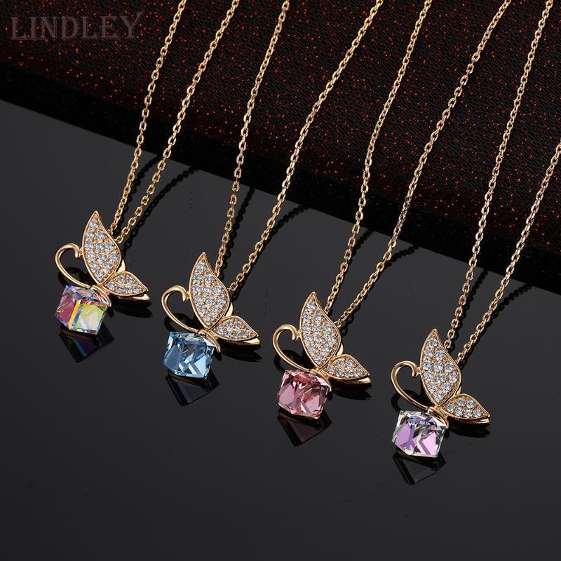 Collana ciondola austriaca di cristallo LINDLEY farfalla dell'oro per le donne pendenti di lusso micro-cera intarsiato CZ zircone gioielli colletto regalo