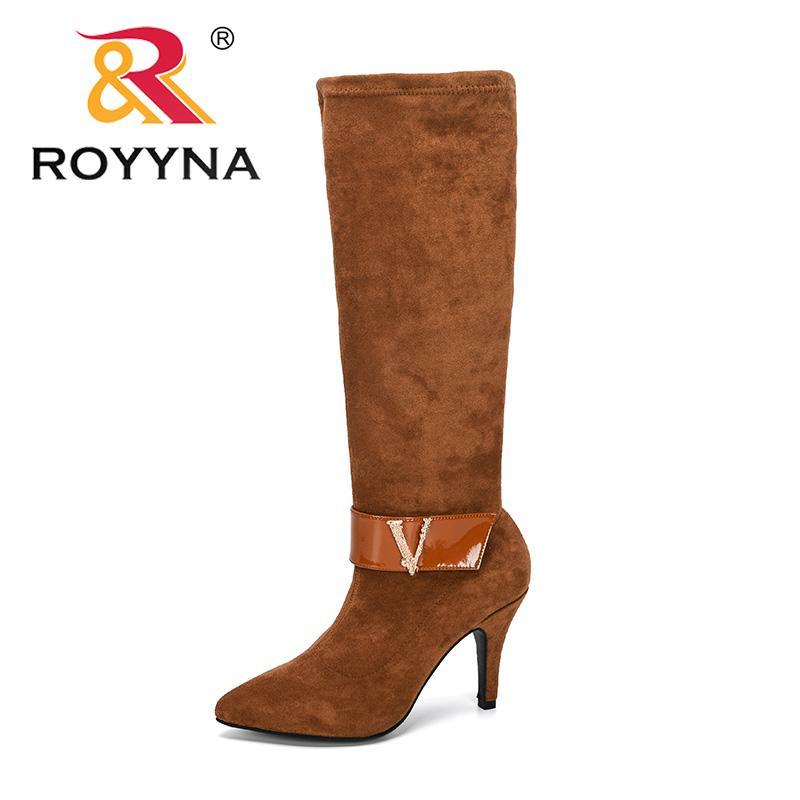 ROYYNA 2020 Yeni Tasarımcılar Moda Over-the-diz Boots Kadınlar Flock Boots Kadın Ayakkabı Yüksek Topuklar Diz yüksek Fermuarlar Bayanlar