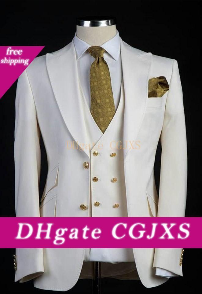 Latest Design Two Button Man Business Suits Groom Tuxedos Peak Lapel Men Party Coat 3 Pieces Suits Sets (Jacket Pants Vest Tie )K44