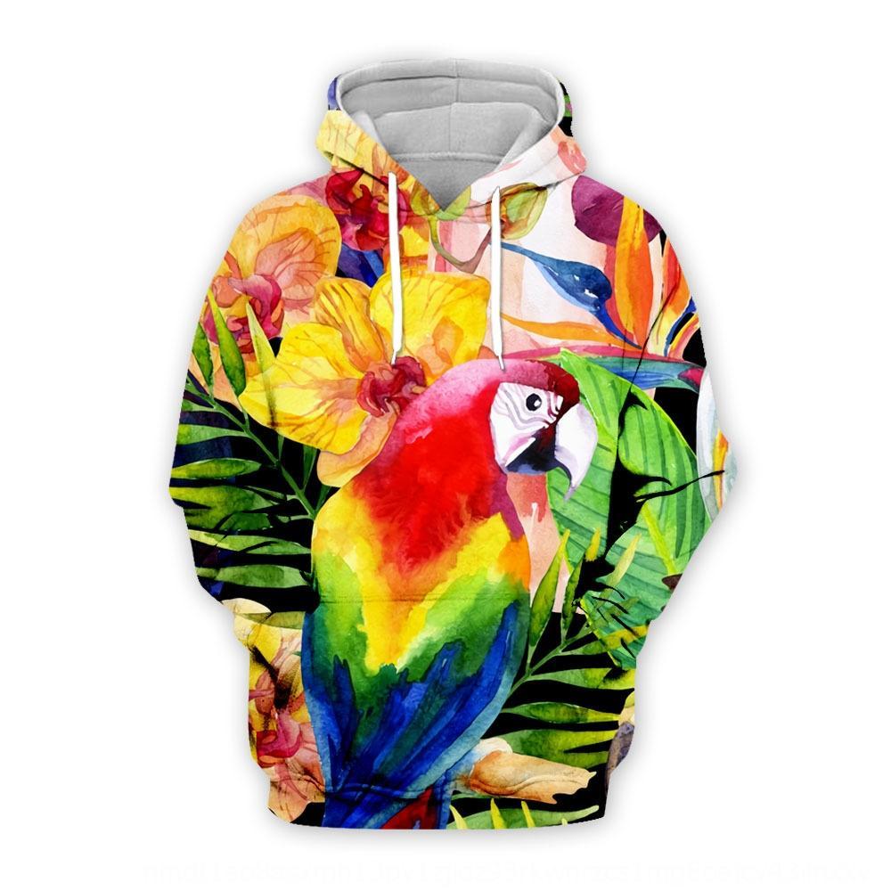 m7u0c 2019 Nueva loro Pareja suéter de la hoja verde del pájaro del loro 3D digital impresa suéter encapuchado flojo desgaste pareja