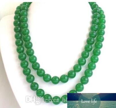 Moda natural de 8 mm de jade verde de jade verde de piedras preciosas de piedras preciosas del collar 50 '' de largo