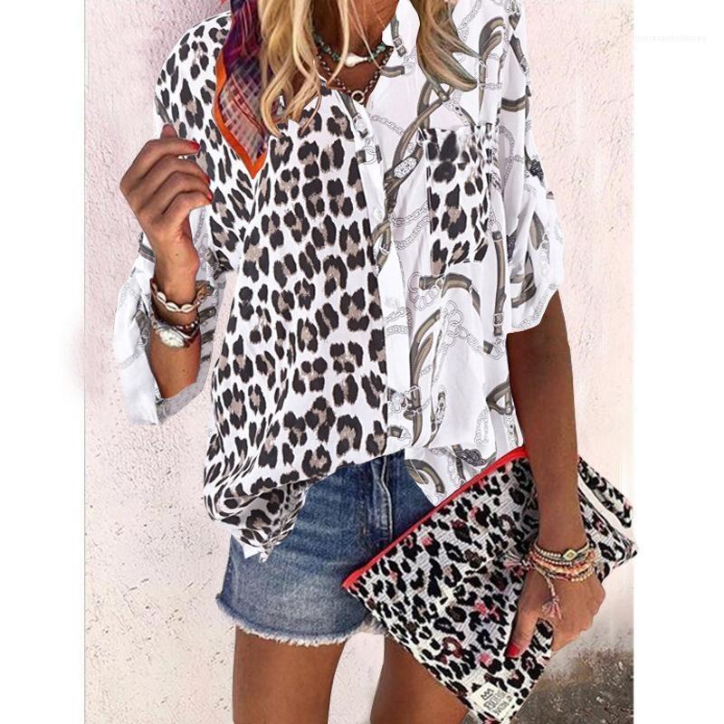 Moda collar del soporte de la ropa para mujer casual en color de contraste Tops para mujer del leopardo diseño de impresión camisas blusas con panelados Botón