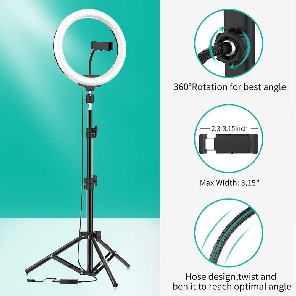Relleno de 10 pulgadas LED selfie luz del anillo de la cámara de vídeo Teléfono regulable Anillo de luz de lámpara de luz para la foto ringlight vídeo en directo