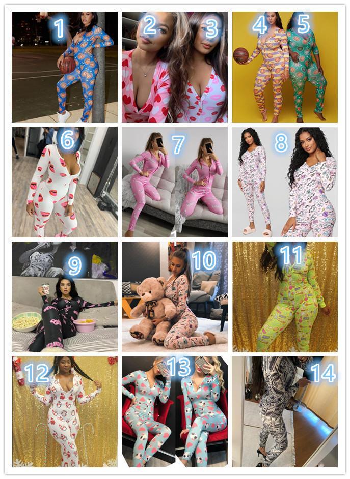 Женские дизайнеры Одежда 2021 Комбинезоны Ночной одежды Ночная одежда Paysuit Кнопка тренировки Skinny Print с длинным рукавом V-образным вырезом one oneies Plus Размер Rompers DHL