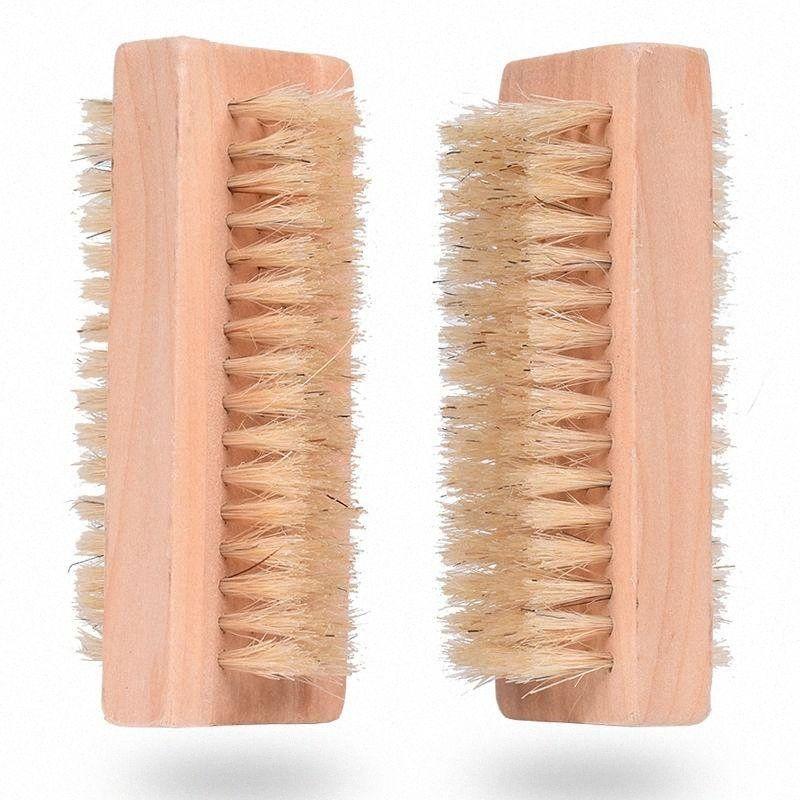 Ahşap Tırnak Fırçası İki Doğal Domuz kıllar Ahşap Manikür Tırnak Fırçası SPA Çift Yüzey Fırça El Temizleme Fırçalar 10cm FFA2840 YThU # taraflı