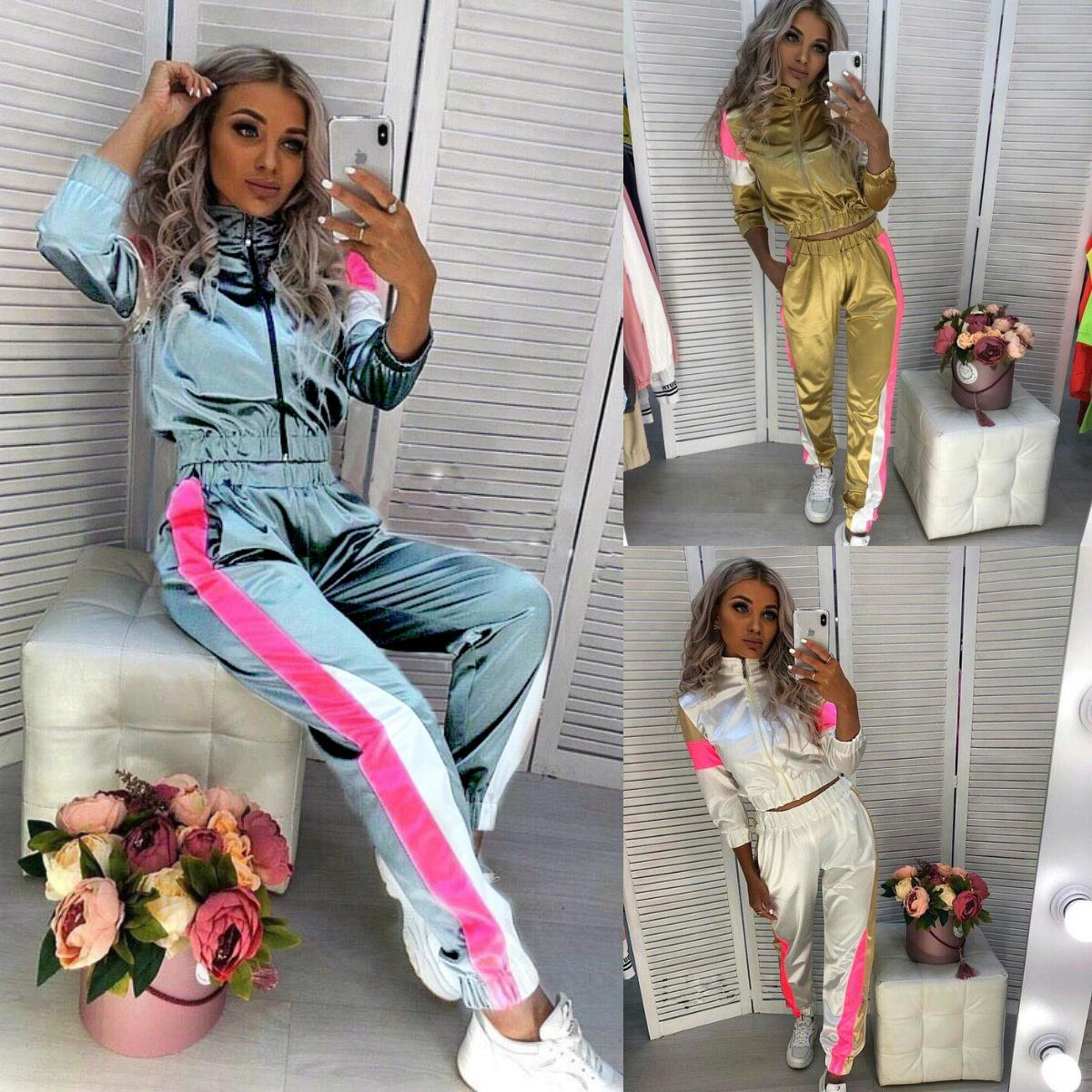 E-Baihui 2020 European and American New Women's Clothing Stitching Street Shooting Casual Women's Slim Straight Two-piece Suit N0310