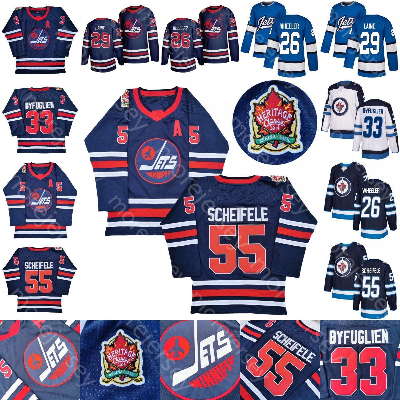 Jets Winnipeg personnalisé Jersey de hockey sur glace 55 Mark Scheifele 33 Dustin Byfuglien 29 Patrik Laine 26 Blake Wheeler toutes cousues et broderie