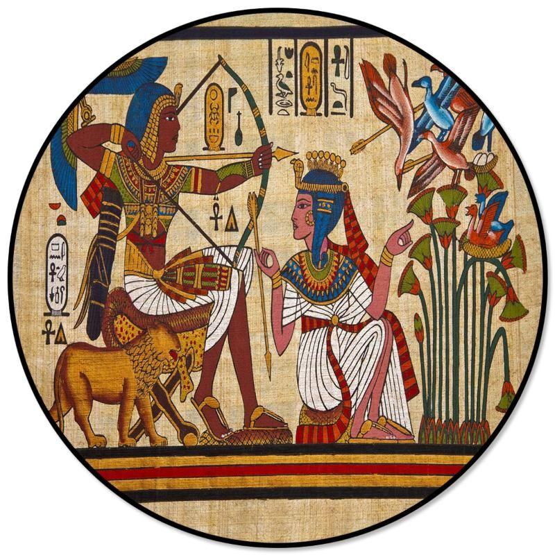 Symbole anciens dieux égyptiens Style de ronde Tapis Alfombra Salon Enfants Tapis Tapis Tapis Espace pour la maison Chambre décorative