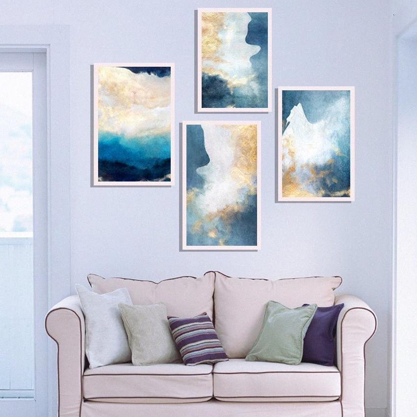 Estratto moderno Dreamy Colore tela pittura dorata di modo di poster e stampe Per Soggiorno Corridoio Camera da letto della parete di arte della decorazione della casa 51U9 #