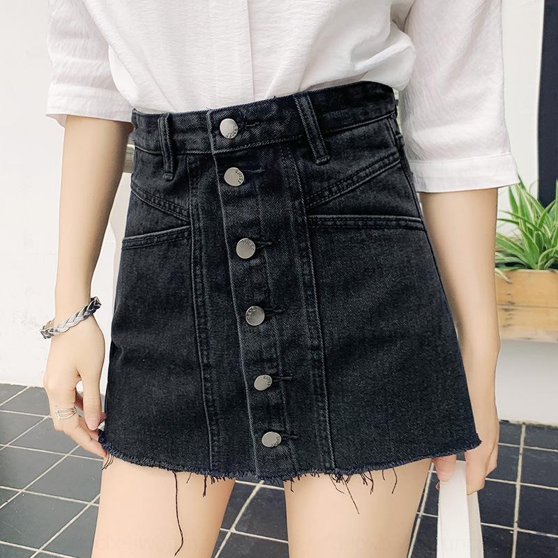 Anti-esposizione zRG1U donne breve linea Dress-pantaloni slim un coreano stile denim linea A- gonna corta lavato gonna nera
