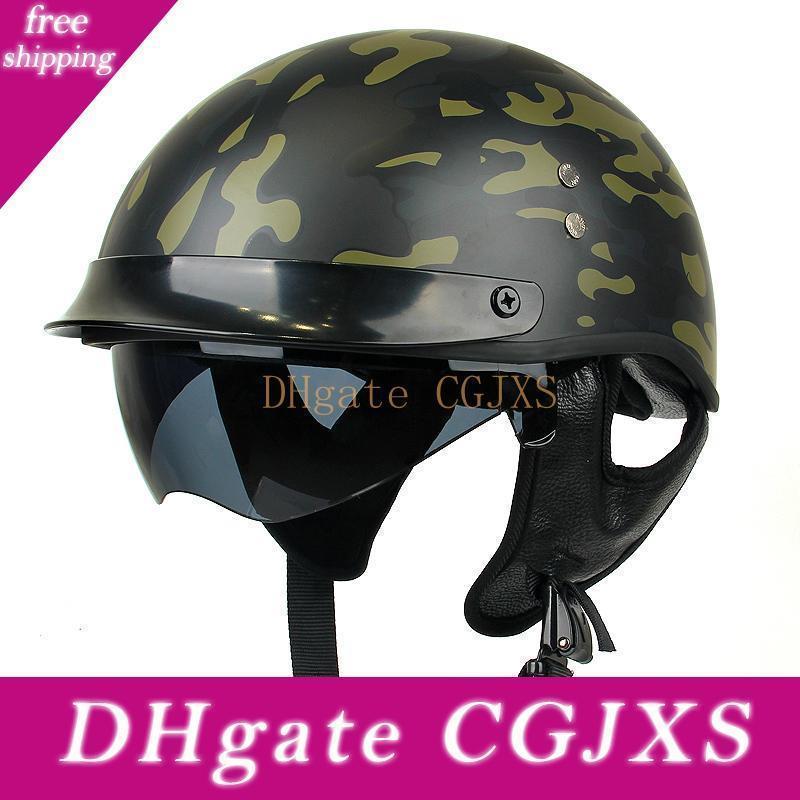 Protección de la cabeza estilo de la vendimia de puntos Certificado de motos retro mitad de la cara del casco alemán verano de los hombres casco de la motocicleta