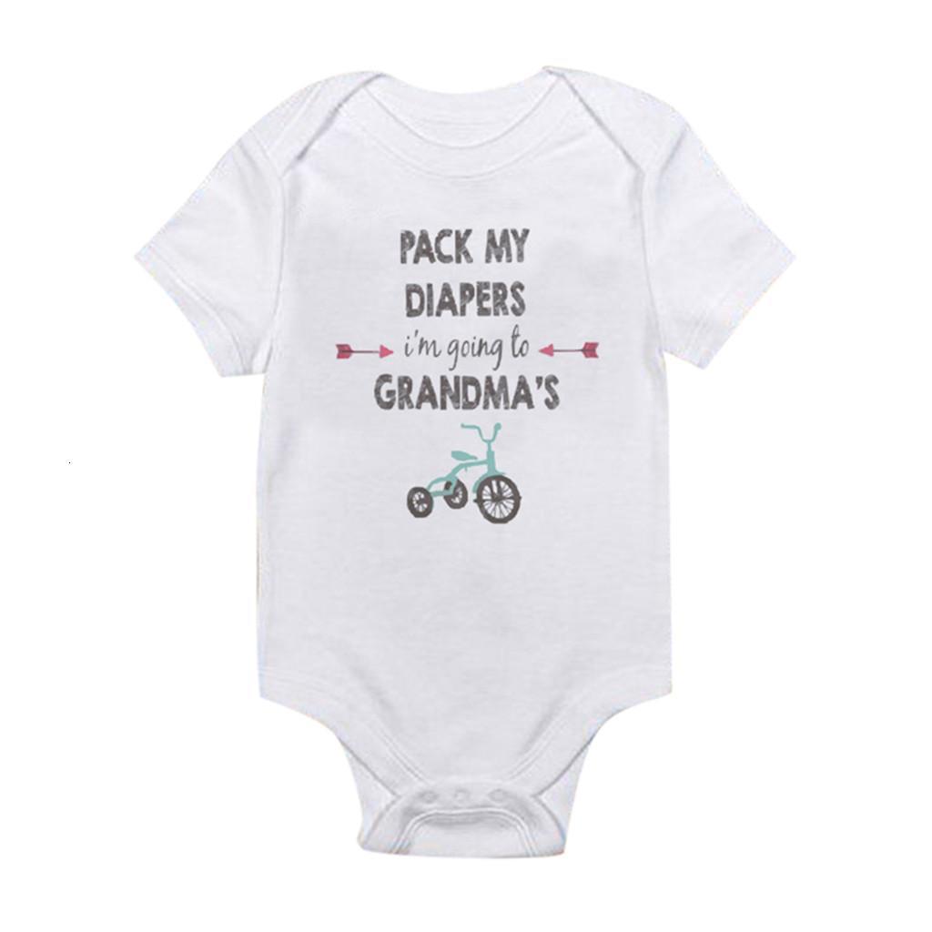 Art und Weise der neuen Sommer-Babyspielanzug Newborn Buchstabedrucken romper Kinder Baby Kinder Overall kurze Kleidung Hülse