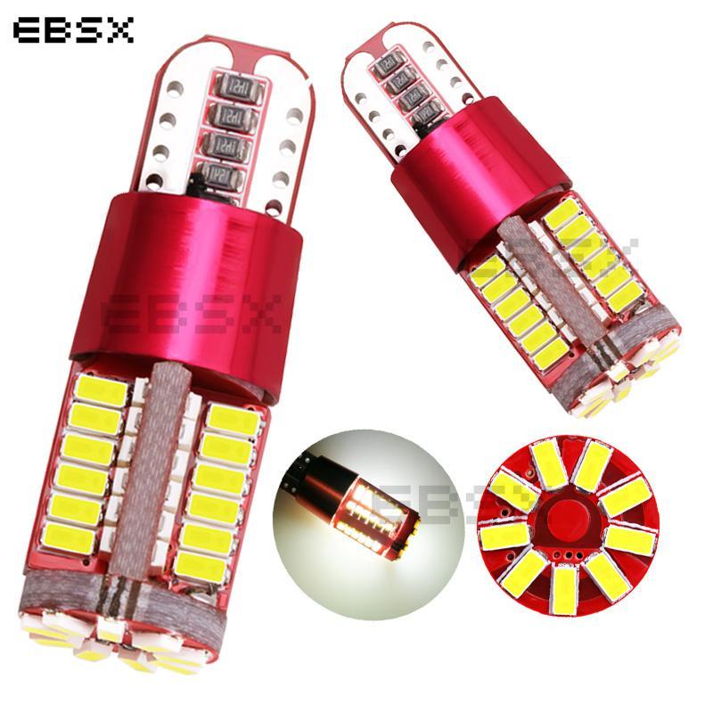 EBSX 300X 12V T10 W5W LED voiture Parking lumière 57 SMD 3014 LED de lecture automatique de la lampe plaque d'immatriculation Lumières Wedge Tail Parking Ampoule Side