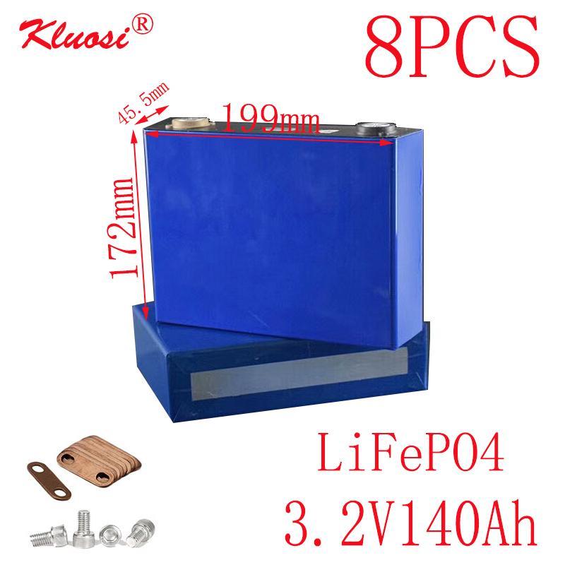 8PCS KLUOSI 3.2V140Ah LiFePO4 Batterie 8S / 24V Pack für Solar Energiespeicher Inverter EV Marine-RV Golf US / EU TAX FREE