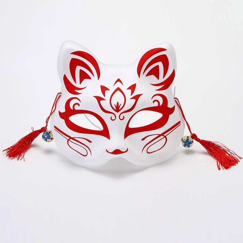 Masques Fox japonais peints à la main style PVC Fox Chat Masque Cosplay Festival de boule de mascarade Kabuki Kitsune cosplay costume JK2009PH