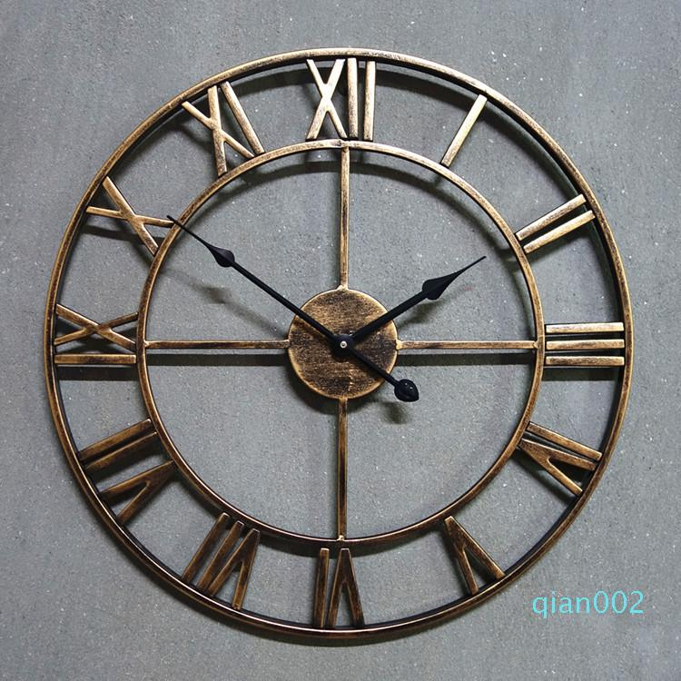 KAYIYO Yaratıcı 3D Demir Duvar Saati Retro Büyük Sanat Dişli Romen Rakamları Tasarım The Clock On The Duvar Ev Dekorasyon