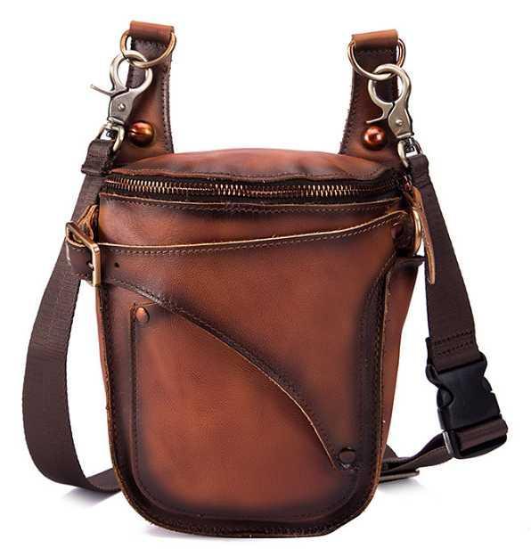 Dapper Trendy Men Cowhide Waist Bag Cray Horse Genuine Leather Phone Camera Bags Mens Easy-to-carry Cool Belt Bag Heuptas DF303