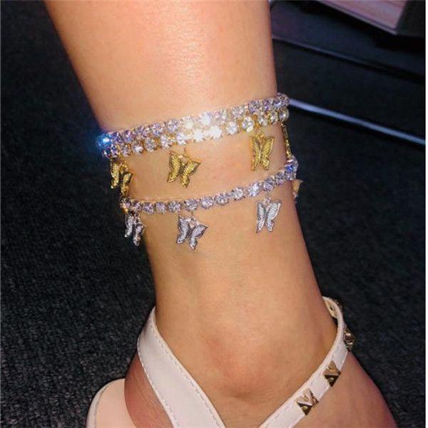 Tobillera mariposa de oro Rhinestone Crystal tobillo encanto de la pulsera para el tobillo de playa de Boho de joyería de las mujeres sandalias del pie pulseras Mujer boda.