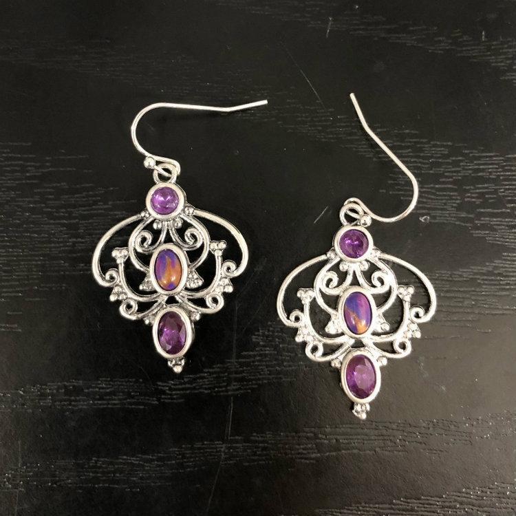 Тайский серебряный кристалл бирюзовый фиолетовый Дракон фиолетовый лепесток серьги дамы цветок персика Кристалл кедра серьги серьги y1CAq