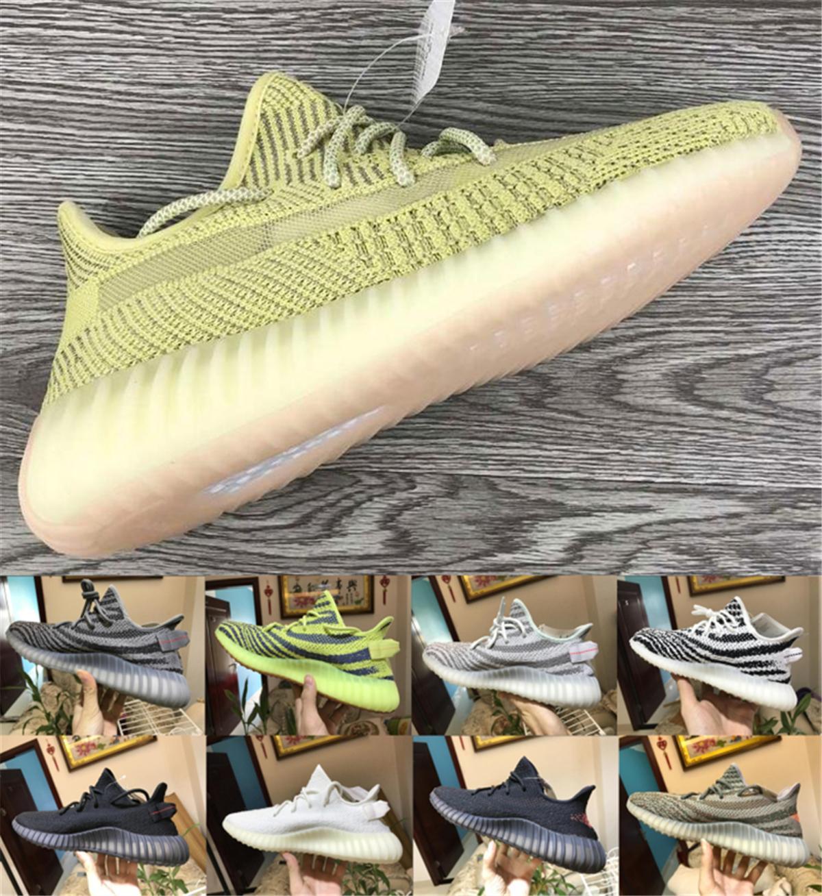 Com caixa de Designer sneakers tinta Kanye West estática mens Creme Sesame branco Tint manteiga Mulher designer Shoes Calçados casuais 36-48