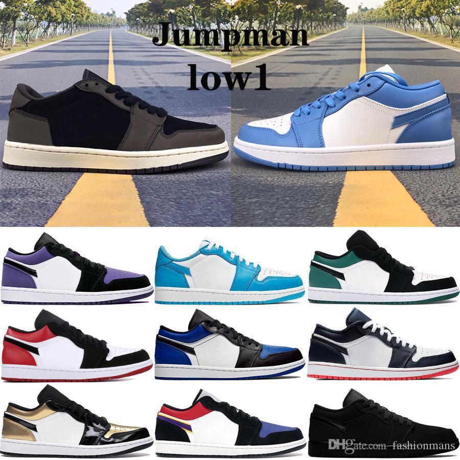 New Low 1 1s Jumpman scarpe da basket Olimpiadi SP Travis Scotts UNC smeraldo punta iper corte reale viola Parigi uomini donne scarpe da tennis di sport