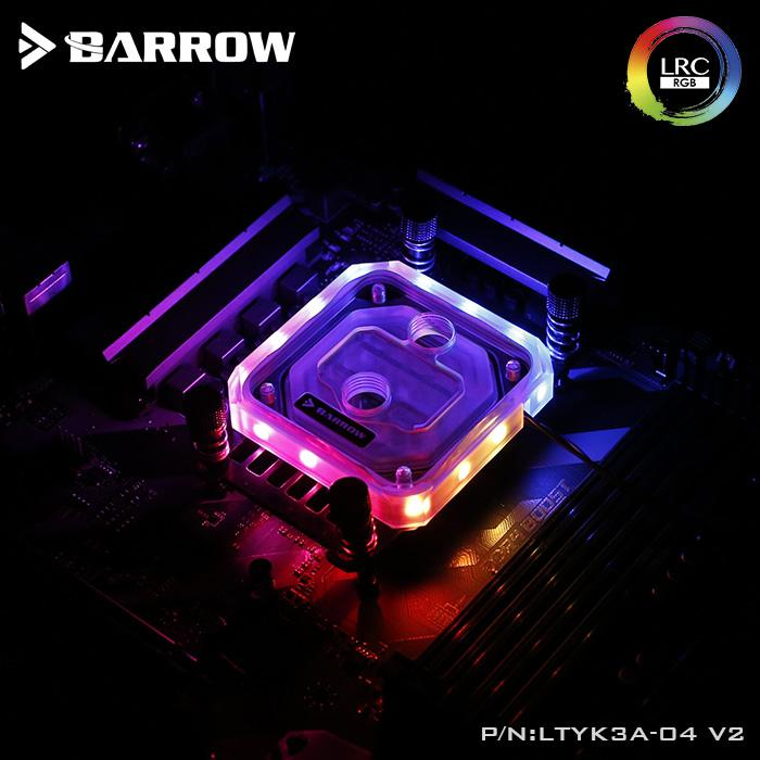 Barrow CPU Water Block use for AMD RYZEN 3600 AM3 AM4 / RGB Light compatible 5V GND 3PIN Header in Motherboard / Copper Radiator