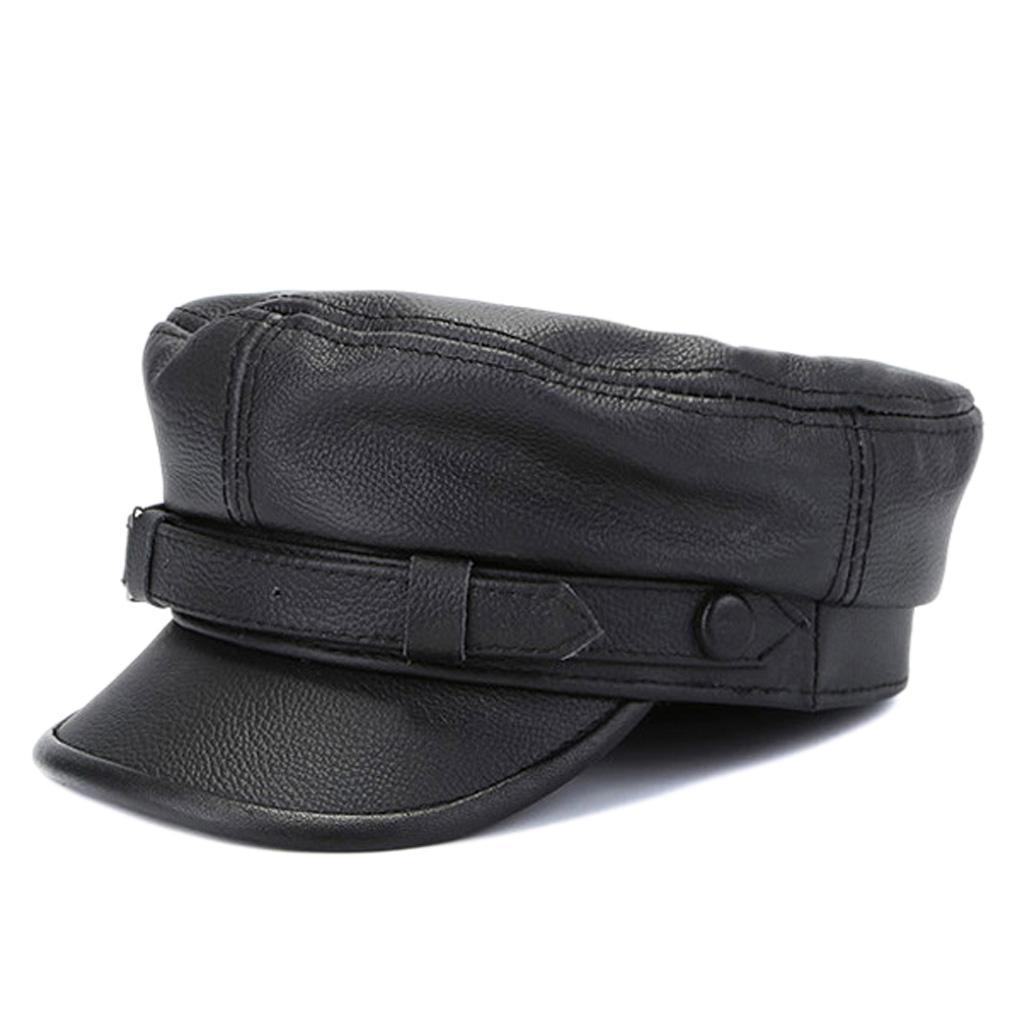 100% couro genuíno militar do exército Cap Flat Top Hat Moda Homens Mulheres Newsboy Cabbie Hat