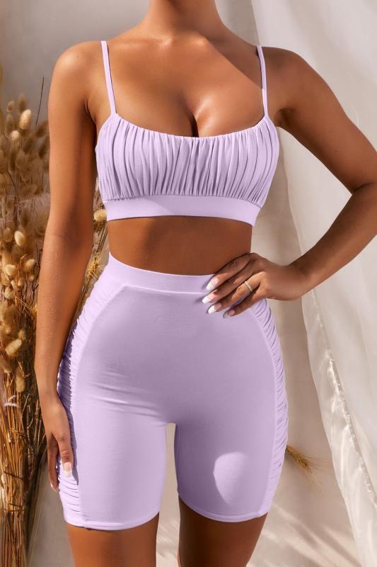 2 Imposta Yoga Pezzi per le donne Solid viola piega di Ba + pantaloncini da ginnastica fitness Abbigliamento TracksuiYoga i bicchierini di corsa Sportswear