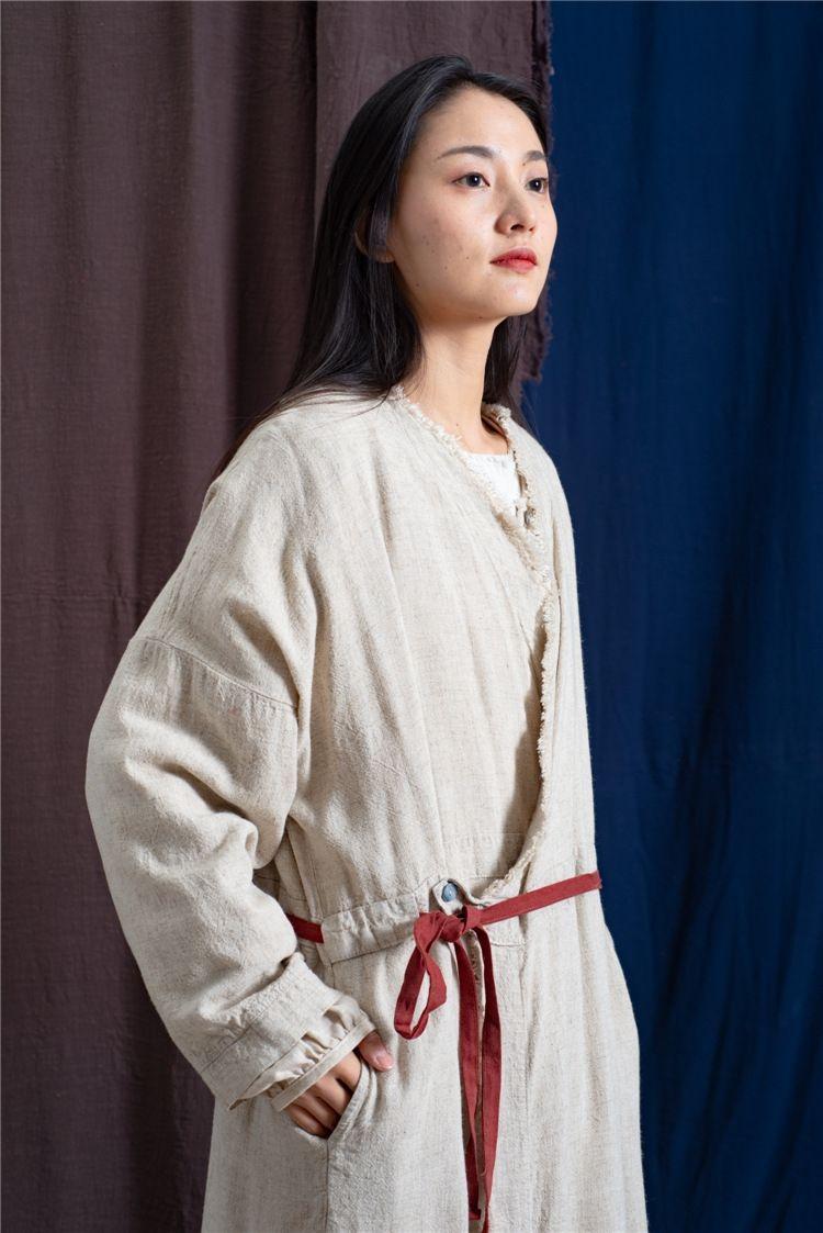 Petit mcpF9 chaud coton manteau de coton coupe-vent et et vêtements pour femmes lin épais cardigan lin déchirure manteau coupe-vent